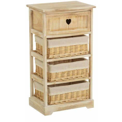 Cajonera beige de madera con 4 cajones de 73x40x29 cm