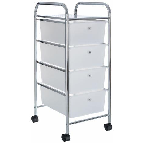 Cajonera blanca con 4 cajones metal clásico de 33x39x79 cm