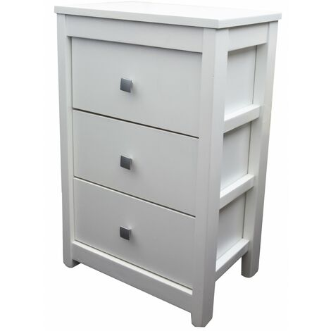 Cajonera Blanca de Madera Natural con 3 Cajones. Diseño Moderno, Ideal para Dormitorio/Salón 40x62x26,5 cm