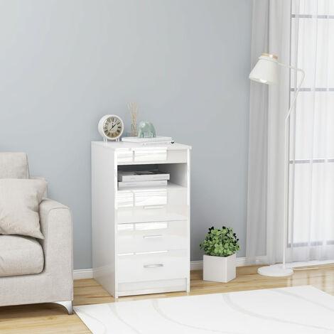 Cajonera de aglomerado blanco brillante 40x50x76 cm