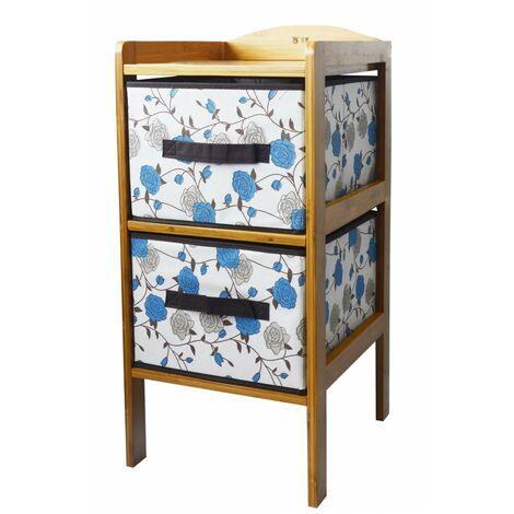 Cajonera de Bambú con 2 Cajones para Almacenamiento, Ideal para Baño, Salón, Dormitorio. Estilo Floral Azul 65.5x30.7x32 cm