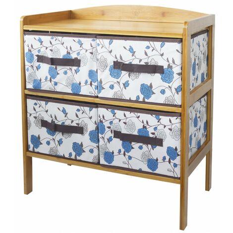 Cajonera de Bambú con 4 Cajones para Almacenamiento, Ideal para Baño, Salón, Dormitorio. Estilo Floral Azul 66x59x32 cm