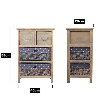 Cajonera Madera Natural para Baño, Dormitorio o Salón. Diseño Vintage/Natural, 2 Cajones y 2 Cestas 58x40x29cm