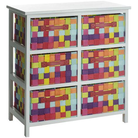 Cajonera multicolor de madera con 6 cajones de 30x55x61 cm