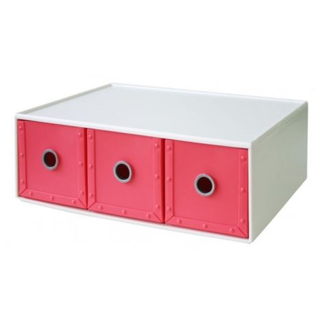 Cajonera Ordenacion Multiusos 344X266X126Mm Apilable Plastico Rosa 03 Cajones W
