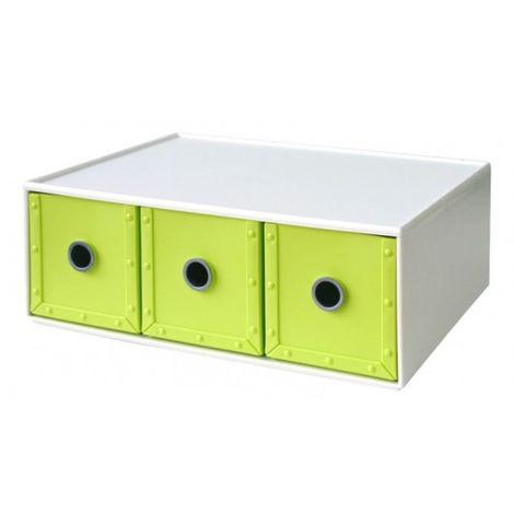 Cajonera Ordenacion Multiusos 344X266X126Mm Apilable Plastico Verde 03 Cajones Wa