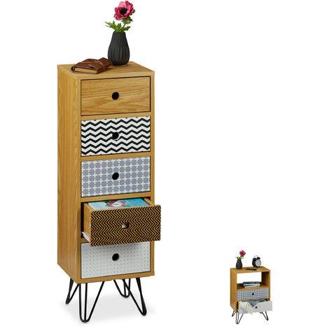Cajonera Vintage, Mueble Auxiliar Retro para el Salón, Cómoda Recibidor, 90x30x25 cm, DM-Acero-PB, Multicolor