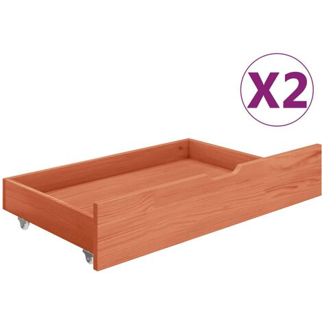 Cajones de cama 2 uds madera maciza de pino marrón miel - Marrón