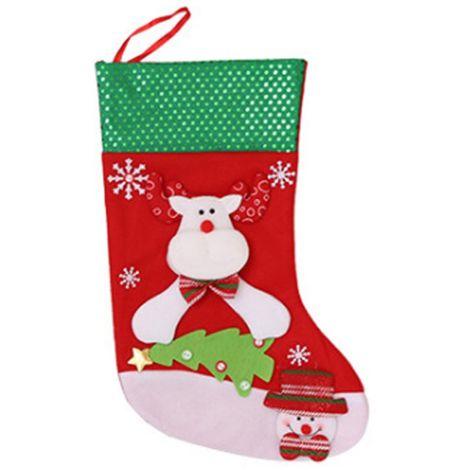 Calcetín de calcetín de Navidad Bolsa de regalo de Papá Noel Decoración colgante de árbol de caramelo Grande