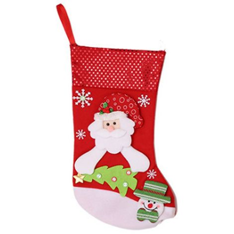 Calcetín de calcetín de Navidad Bolsa de regalo de Santa Claus Candy Tree Hanging Decor Big D Hasaki