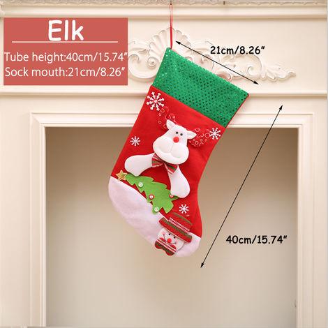 Calcetín de Navidad Papá Noel Bolsa de media Árbol de caramelo Decoración colgante Grande