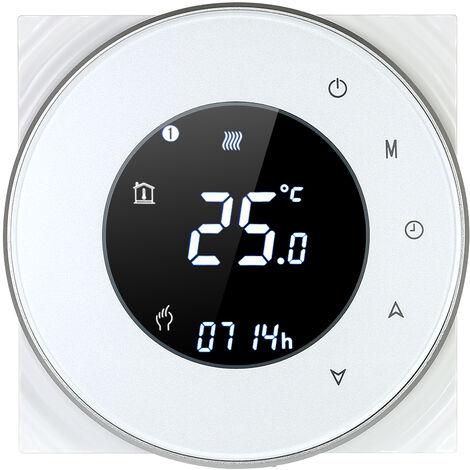 Caldera de gas de calefaccion programable termostato de contacto seco la temperatura del LCD con luz de fondo controlador de pantalla tactil Control de voz compatible con Amazon Eco / Google Inicio / IFTTT, blanco, blanco RD