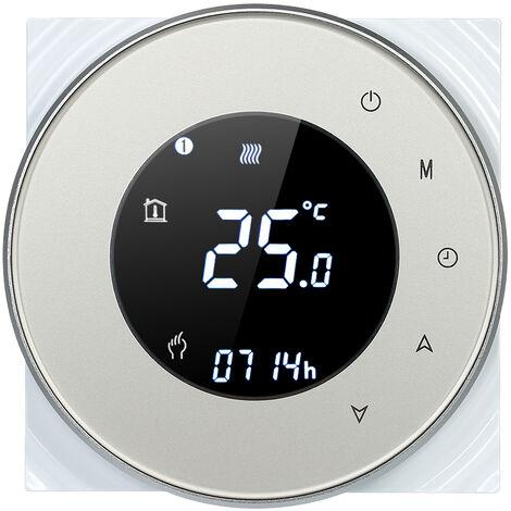 Caldera de gas de calefaccion programable termostato de contacto seco la temperatura del LCD con luz de fondo controlador de pantalla tactil Control de voz compatible con Amazon Eco / Google Inicio / IFTTT, Champagne RD