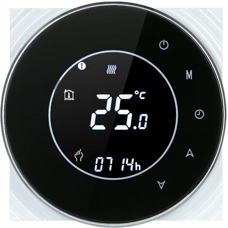 Caldera de gas de calefaccion programable termostato de contacto seco la temperatura del LCD con luz de fondo controlador de pantalla tactil Control de voz compatible con Amazon Eco / Google Inicio / IFTTT, Negro, Negro RD