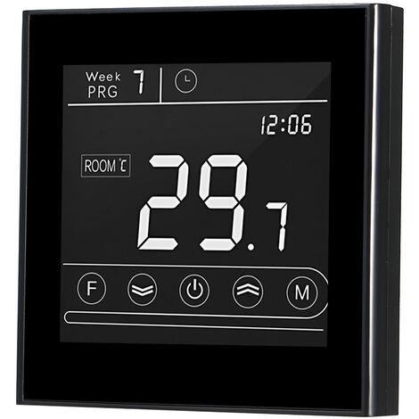 Caldera inteligente Wifi termostato programable de gas del termostato de temperatura del LED Controlador de pantalla tactil Luz de fondo remoto reemplazo Funcion de Control de antihielo para Tmall Genie / Amazon Echo, Negro, GC