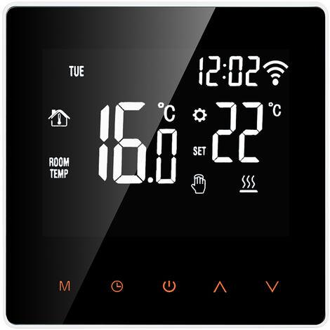 Caldera WiFi termostato inteligente agua / gas Controlador de temperatura digital del telefono movil de control de pantalla tactil LCD de visualizacion de la semana Funcion programable Anticongelante Calentamiento de agua Termostato para Oficina de la Esc