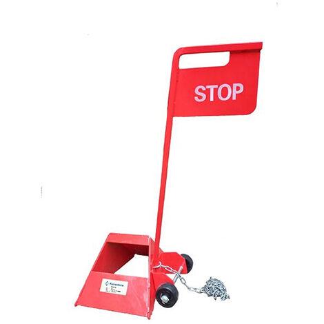 Cale de roue en acier avec panneau stop pour remorque ou véhicule long