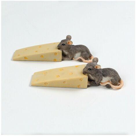 Cale porte original forme souris fromage - lot de 2 - Astuceo