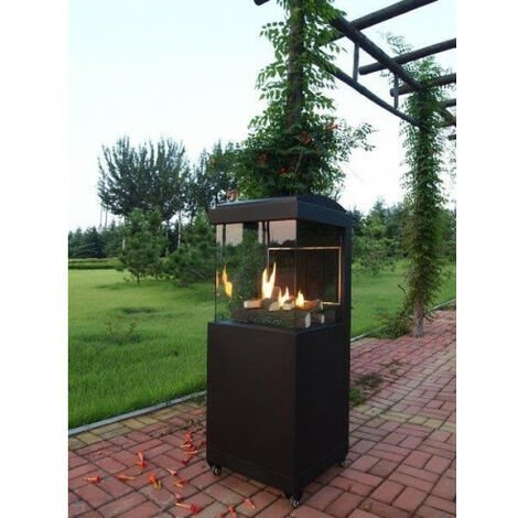 Calefactor de diseñador cuadrado de gas para exterior con ruedas eho1111023-DESKandSIT-