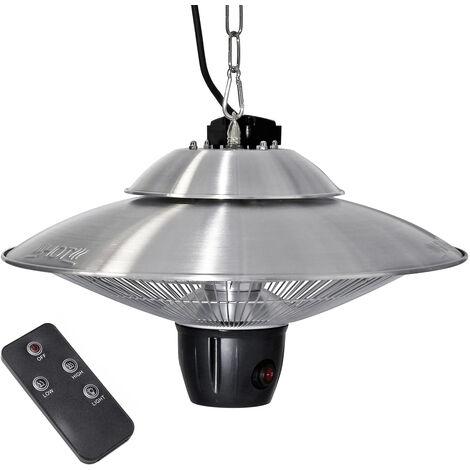 Calefactor de techo 2 niveles de calor 600/1200W, mando a distancia y LED, interior y exterior