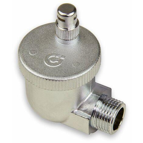 Caleffi 504401 AERCAL Radiateur automatique à évacuation rapide 1/2`` AG Valve de purge en laiton pressé chromé avec capuchon de sécurité hygroscopique
