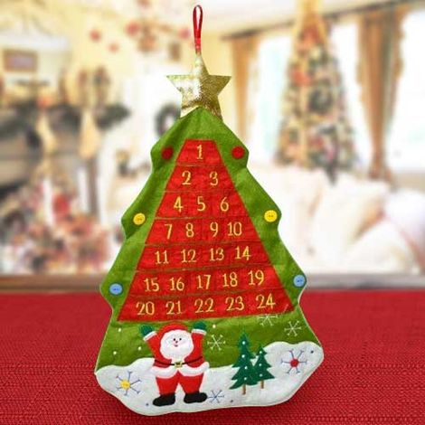 Decorazioni Albero Di Natale.Calendario Avvento Albero Di Natale Feltro Numeri Tasche Decorazioni Natalizie