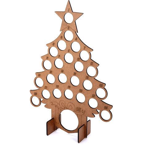 Calendario de Adviento Árbol de Navidad Ajuste de madera 24 Chocolates Soporte Soporte Decoración 40x28cm Sasicare