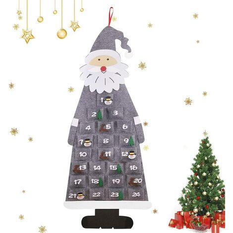 Calendrier de l'Avent, 24 Sac en Feutre à Remplir Noël, 45 x 115 cm Noël DIY Calendrier de l'Avent à remplir Tissu de Noël de Bricolage en Feutre pour DIY Décoration de 2020 Noël