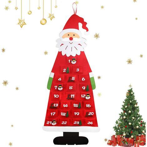 Calendrier de l'Avent, 24 Sac en Feutre à Remplir Noël, Noël DIY Calendrier de l'Avent à remplir Tissu de Noël de Bricolage en Feutre pour DIY Décoration de 2020 Noël