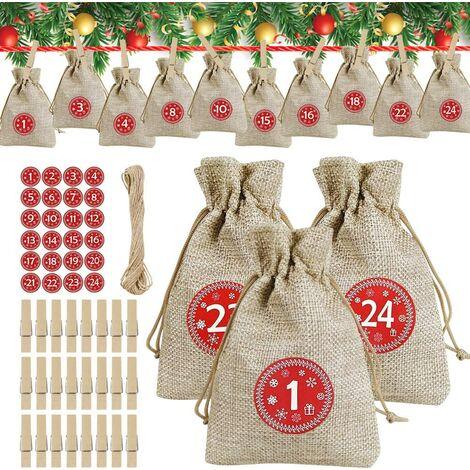 Calendrier de l'Avent à remplir soi-même - Sachets en toile de jute - Calendrier de l'Avent 2020 - À remplir soi-même - Sachets cadeaux de Noël avec 24 autocollants numérotés de l'avent