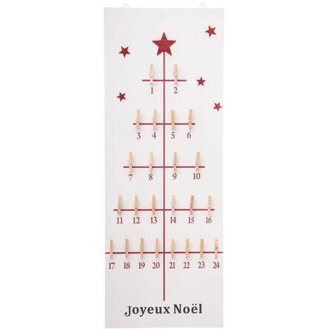 Calendrier de l'Avent avec pinces - 30 x 80 cm - Rouge et blanc - Blanc