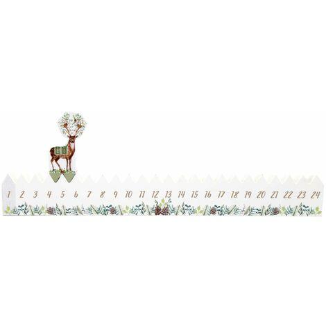 Calendrier de l'Avent bois renne Xmas Tradi - Blanc - Blanc