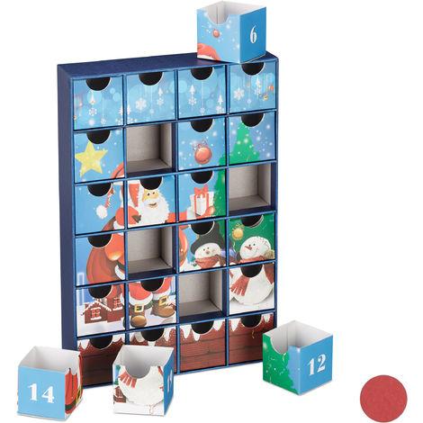 Calendrier de l'Avent DIY 24 boites vides Cubes à remplir soi-même Noël, enfant adulte, bleu