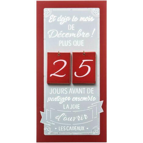 Calendrier de l'Avent en bois à suspendre Jeanne - Rouge - Rouge