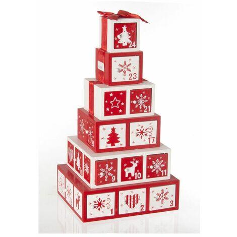 Calendrier de l'avent en bois - Décoration de Noël cadeaux