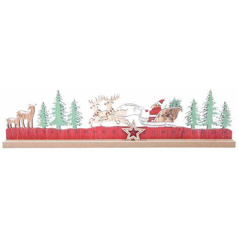 Calendrier de l'Avent en bois Père Noël Xmas Tradi - Rouge - Rouge