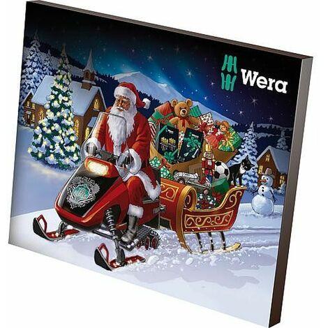 Calendrier de l'avent WERA 2019 24 pieces avec porte-embout et accessoires dans pochette textile