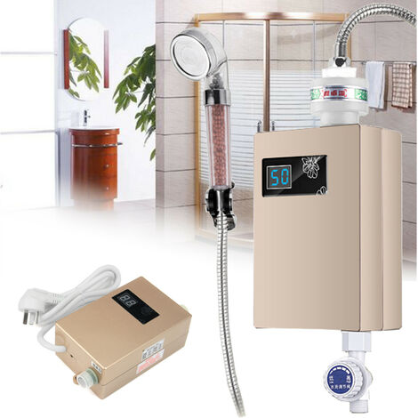 "main image of ""Calentador de agua eléctrico sin tanque + boquilla de ducha para baño cocina 3000W 220V"""
