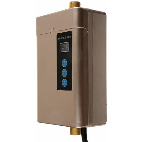 Calentador de agua instantáneo eléctrico sin tanque debajo del grifo del fregadero Cocina del baño (dorado, enchufe de la UE 4000W)