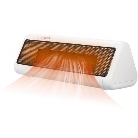 Calentador de espacios 300W PTC de ceramica portatil del ventilador silencioso Personal Calentador electrico Calentador de piso con exceso de calor Modo de proteccion 3 blancos ajustable enchufe de la UE, blanca