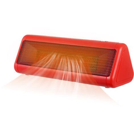 Calentador de espacios 300W PTC de ceramica portatil del ventilador silencioso Personal Calentador electrico Calentador de piso con exceso de calor Modo de proteccion 3 Rojo ajustable enchufe de la UE, Rojo