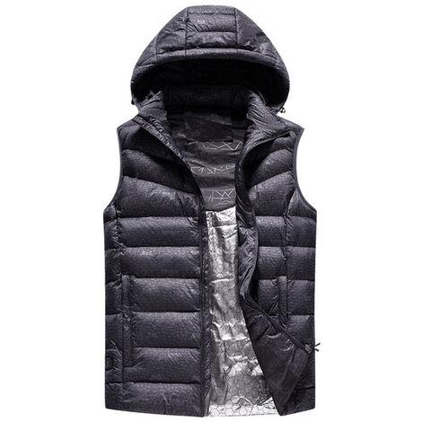 Calentador USB caliente de Seguridad caida inteligente y chaqueta del invierno en chaqueta con el sombrero de la motocicleta al aire libre De Ski gris 2XL