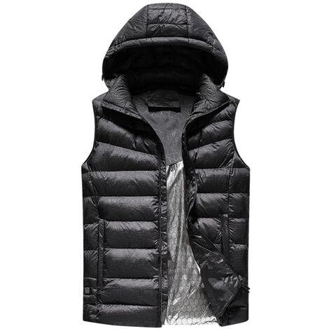 Calentador USB caliente de Seguridad caida inteligente y chaqueta del invierno en con el sombrero de la motocicleta chaqueta al aire libre Desde el esqui, Negro, 2XL