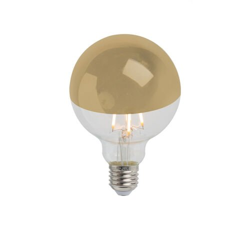 Calex Bombilla E27 LED filamento cúpula espejo oro regulable G95 280lm 2300K