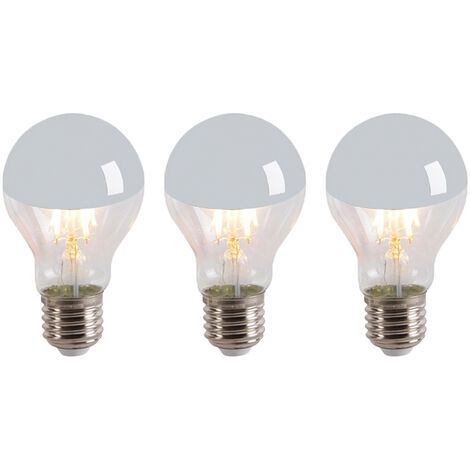 Calex Set 3 bombillas filamento espejo LED E27 240V 4W 300lm A60 regulable