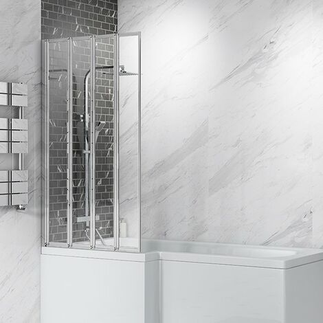 Cali 4-Fold Bath Screen - 1400mm High x 800mm Wide - 4mm Glass