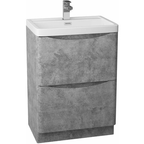 Cali Bali 2-Drawer Floor Standing Vanity Unit with Ceramic Basin 600mm Wide - Concrete