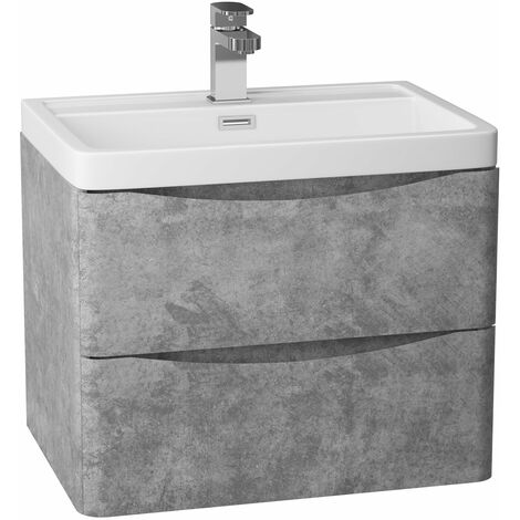 Cali Bali 2-Drawer Wall Mounted Vanity Unit with Ceramic Basin 600mm Wide - Concrete