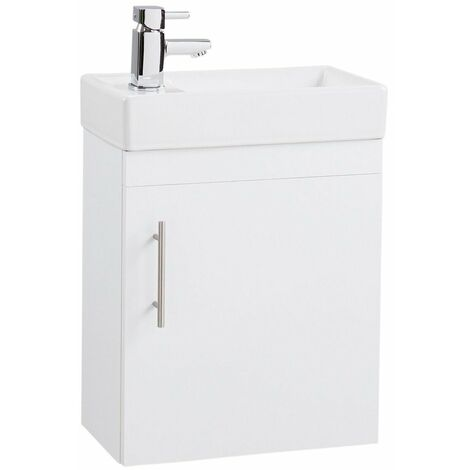 Cali Compact Wall Hung 1-Door Vanity Unit with Basin 400mm Wide - White
