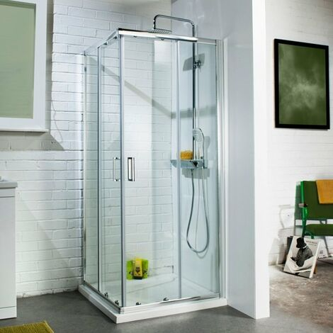Cali Corner Entry Sliding Shower Enclosure - 800mm x 800mm - 6mm